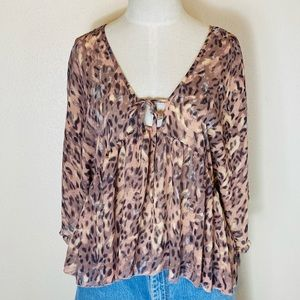 Some days lovin small blouse cheetah leopard pink